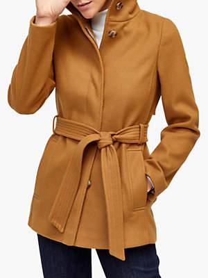 Short Funnel Coat, Camel