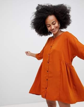 Monki Button Front Mini Smock Dress Unique