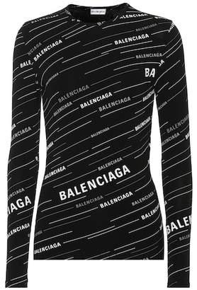 Balenciaga Ribbed logo-printed top