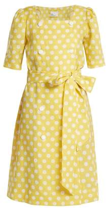 Lisa Marie Fernandez Diana Polka Dot Print Linen Dress - Womens - Yellow White