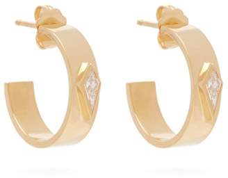 Azlee - Kite 18kt Gold & Diamond Hoop Earrings - Womens - Gold