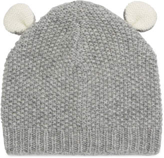 Sofia Cashmere Textured Knit Cashmere Bear Ears Baby Hat