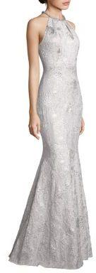 Carmen Marc Valvo Metallic Jacquard Halter Gown $1,195 thestylecure.com