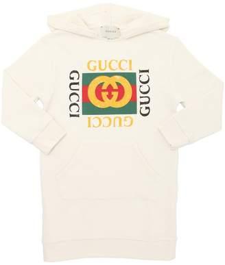 Gucci Logo Hooded Cotton Sweatshirt Dress
