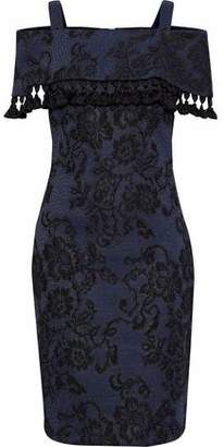 Badgley Mischka Tasseled And Embroidered Lace Dress