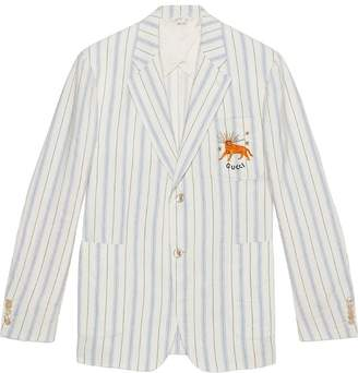Gucci Striped silk linen jacket with feline
