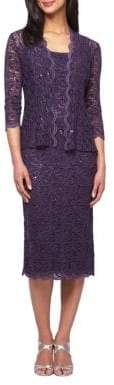 Alex Evenings Plus Sequined Lace Dress and Jacket
