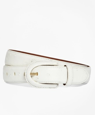 Brooks Brothers Ostrich Covered Buckle Belt