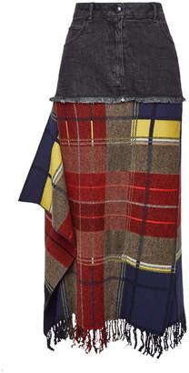 Sonia Rykiel Tartan and Denim Maxi Skirt with Fringe