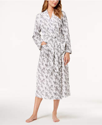 Charter Club Cotton Rose-Print Wrap Robe, Created for Macy's