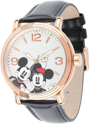 DISNEY Disney Mickey Mouse and Minnie Mouse Black Leather Strap Womens Watch $39.99 thestylecure.com