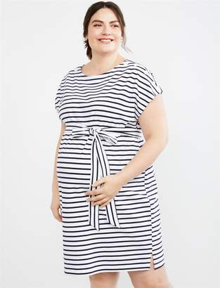 1fd574cc4fa62 Motherhood Maternity Plus Size Button Shoulder Belted Maternity Dress