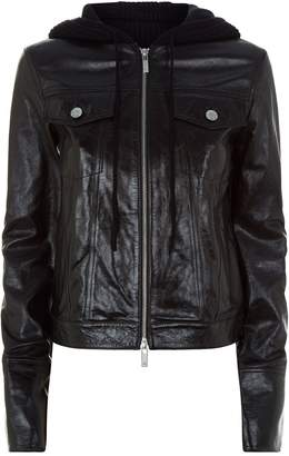 Helmut Lang Knit Hood Leather Jacket