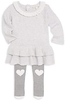 Miniclasix Miniclasix Baby Girl's Ruffle Hem Sweater Dress and Leggings