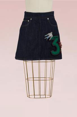 Miu Miu Denim Skirt with Embroidered Number