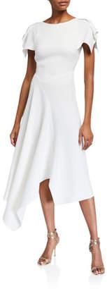 Roland Mouret Warren Asymmetric Stretch Viscose Midi Dress