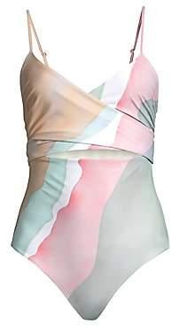 Mara Hoffman Women's Isolde Multicolor Wrap One-Piece Swimsuit