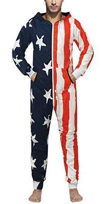 GO Onesie Cosplay Costume American Flag Jumpsuit Comfy USA Clothing Long  Sleeves 3e7167c17
