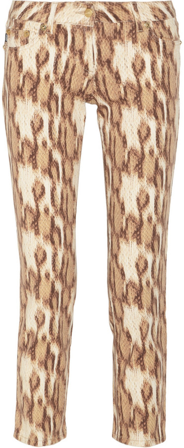 Just Cavalli Snake-print low-rise straight-leg jeans