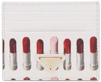 Prada Lipstick Print Saffiano Leather Cardholder - Womens - White Multi