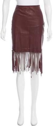 Elizabeth and James Fringe-Trimmed Leather Skirt