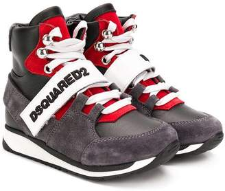 DSQUARED2 logo touch-strap hi-top sneakers