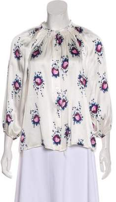 Tucker Swan Printed Silk Top