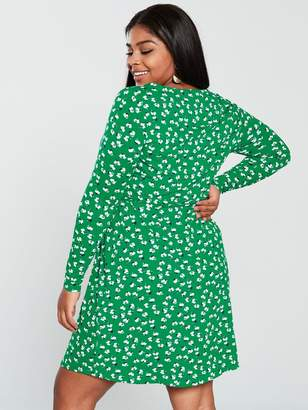 V By Very Curve V by Very Curve Square Neck Jersey Dress - Green
