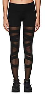 Electric Yoga WOMEN'S MESH-INSET COTTON-BLEND LEGGINGS-BLACK SIZE S