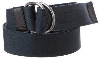 Prada Saffiano-Trimmed D-Ring Buckle Belt