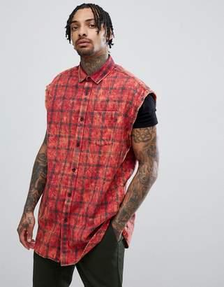Asos DESIGN overszied sleeveless plaid check shirt with acid wash