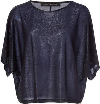 Sally LaPointe Dolman-Sleeve Metallic Mesh Knit T-Shirt