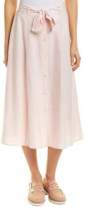 Three Dots Button Front Linen Skirt