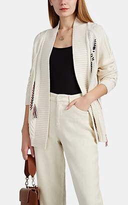 Leo & Sage WOMEN'S CONTRAST-STITCHED CABLE-KNIT CARDIGAN - WHITE SIZE M/L