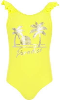 River Island Girls yellow 'paradise' swimsuit
