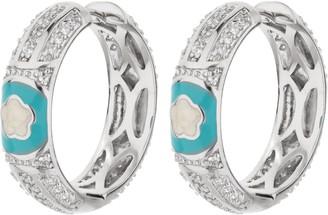 """Ralph Lauren G. Adams G Adams Silvertone Enamel Floral 1-1/8""""Hoop Earrings"""