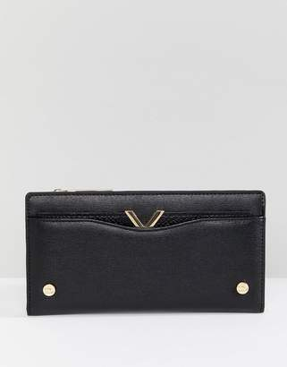 Dune Karcy Black Purse With Card Holder And V Bar Detail