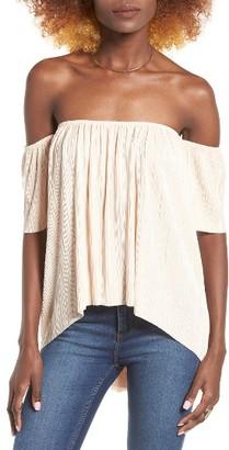 Women's Leith Off The Shoulder Plisse Top $49 thestylecure.com