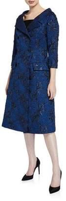 Rickie Freeman For Teri Jon Elbow-Sleeve Double-Breasted Jacquard Coat Dress