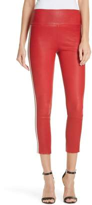 SPRWMN Two-Stripe Athletic Leather Capri Leggings