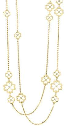 "G-Shock Gumuchian 18K Yellow Gold G Boutique Kelly Diamond Clover Station Necklace, 34"""