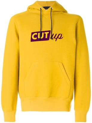 Sacai Cut-up slogan hoodie