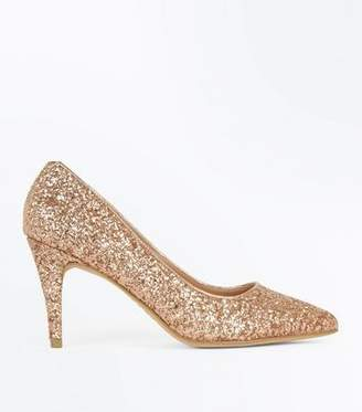 New Look Wide Fit Rose Gold Glitter Pointed Wedding Courts