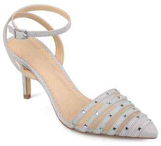 Brinley Co. Women's Faux Suede Rhinestone Pointed Toe Ankle-strap Heels