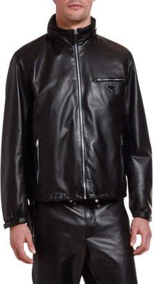 Prada Men's Leather Zip-Front Jacket with Nylon Trim