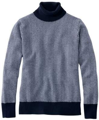 L.L. Bean L.L.Bean Women's Cotton/Cashmere Sweater, Turtleneck Herringbone