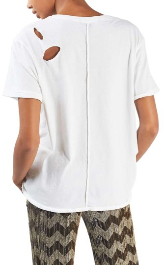 Women's Topshop Ripped Cotton Tee 4
