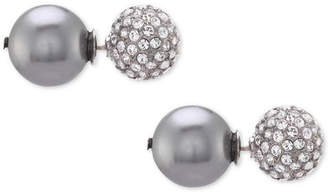 Nina Swarovski Pearl Pavé & Polished Ball Stud Front & Back Earrings, Created for Macy's