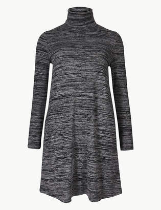 Marks and Spencer PETITE Textured Long Sleeve Shift Dress