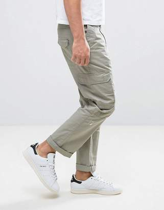 Asos Design Slim Cargo Pants With Rip & Repair Detail In Light Khaki